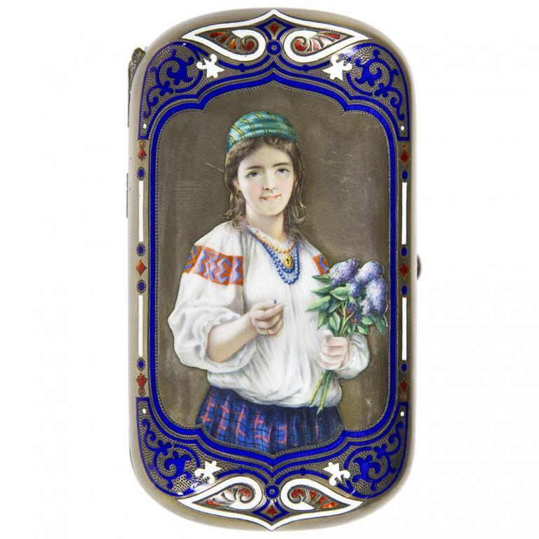 Russian Sterling Silver and Enamel Cigarette Case