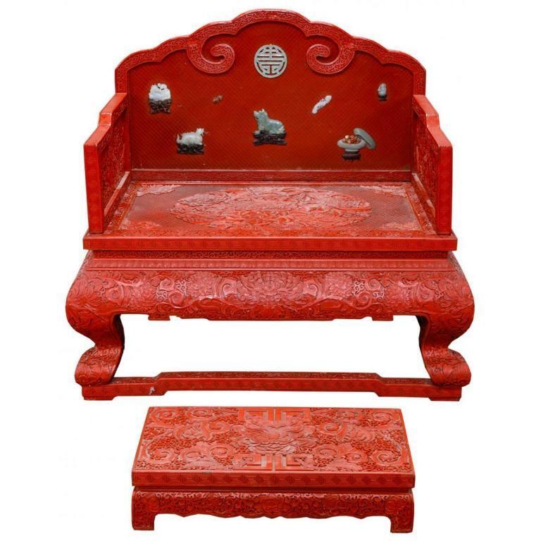 Asian Cinnabar Throne and Footstool
