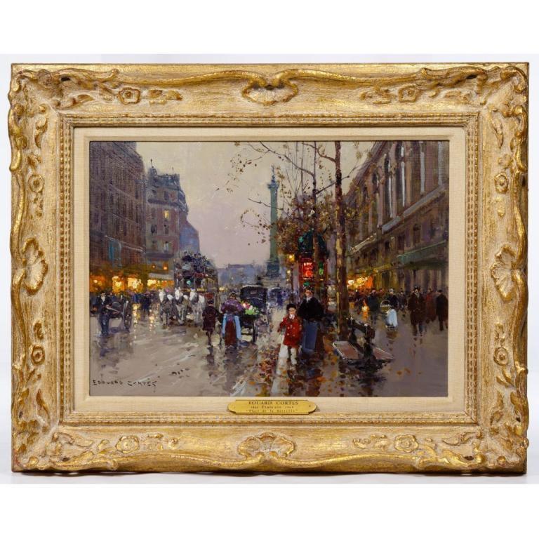 """Edouard Cortes (French, 1882-1969) """"Place de la Bastille"""" Oil on Canvas"""