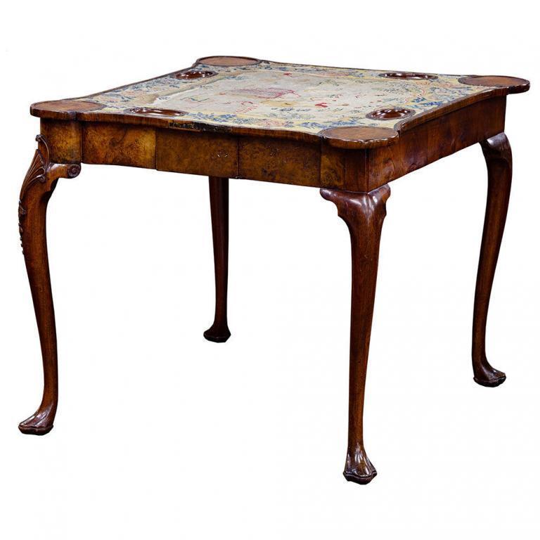 ENGLISH GEORGE I BURL WALNUT GAME TABLE