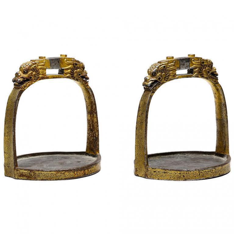 Tibetan Gold Inlaid Stirrups