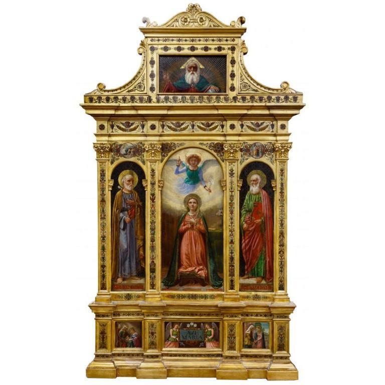 Greek Polyptych Triptych Altarpiece Oil on Wood