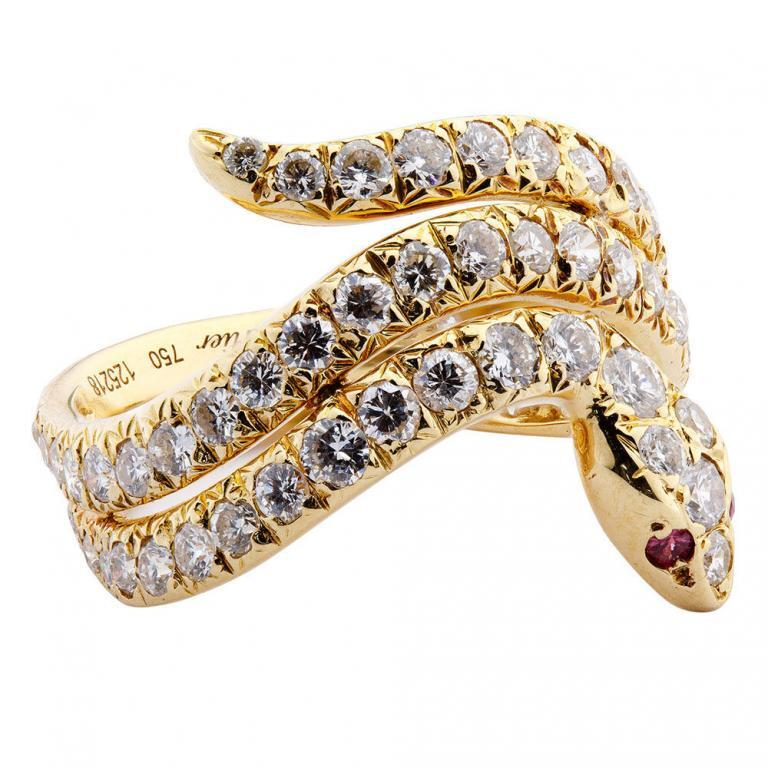 Cartier 18k Yellow Gold and Diamond Snake Ring