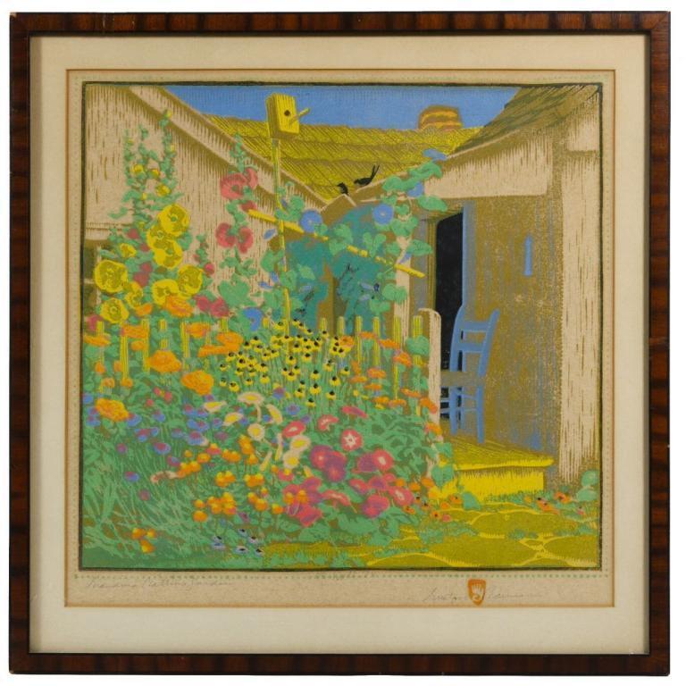 "Gustave Baumann (German, 1881-1971) ""Grandma Battin's Garden"" Woodblock Print"