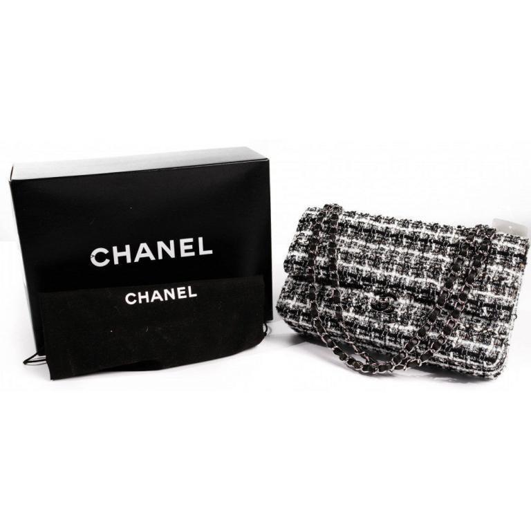 Chanel Classic Quilted Tweed Double Flap Handbag