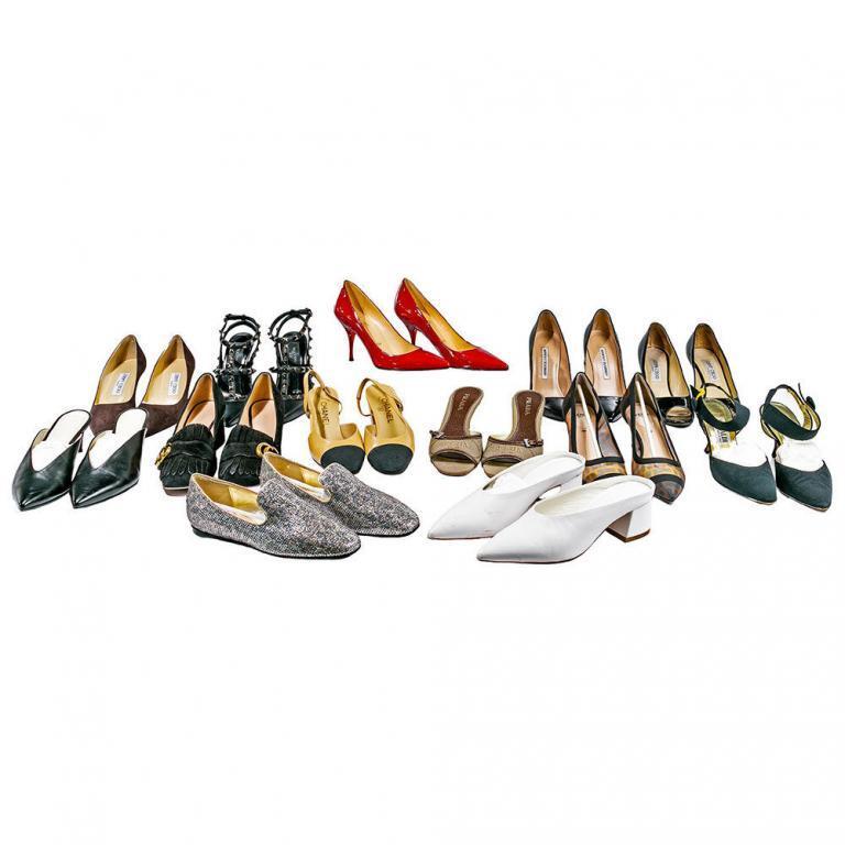 Chanel, Fendi, Christian Louboutin and Designer Shoe Assortment