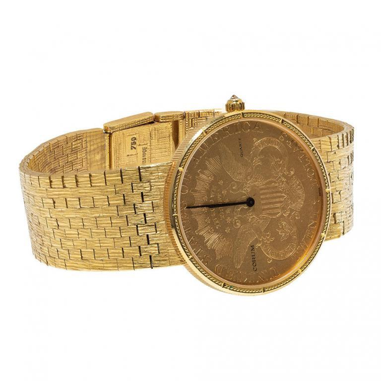 Corum 18k Gold Coin, Case and Band Wrist Watch