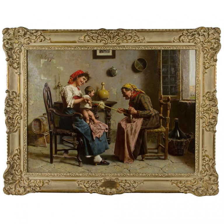 "Eugenio Zampighi ""Three Generations"" Oil on Canvas"