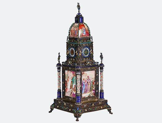 Viennese Silver Enamel Tower Clock